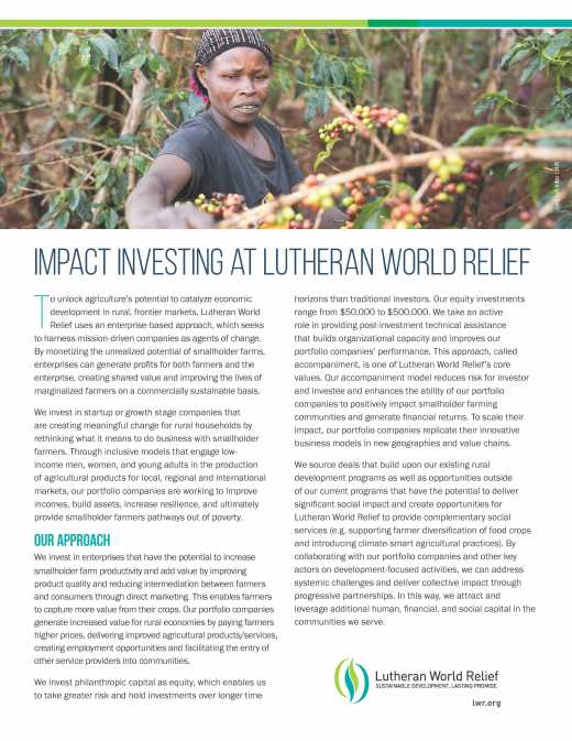 Impacting Investing at Lutheran World Relief